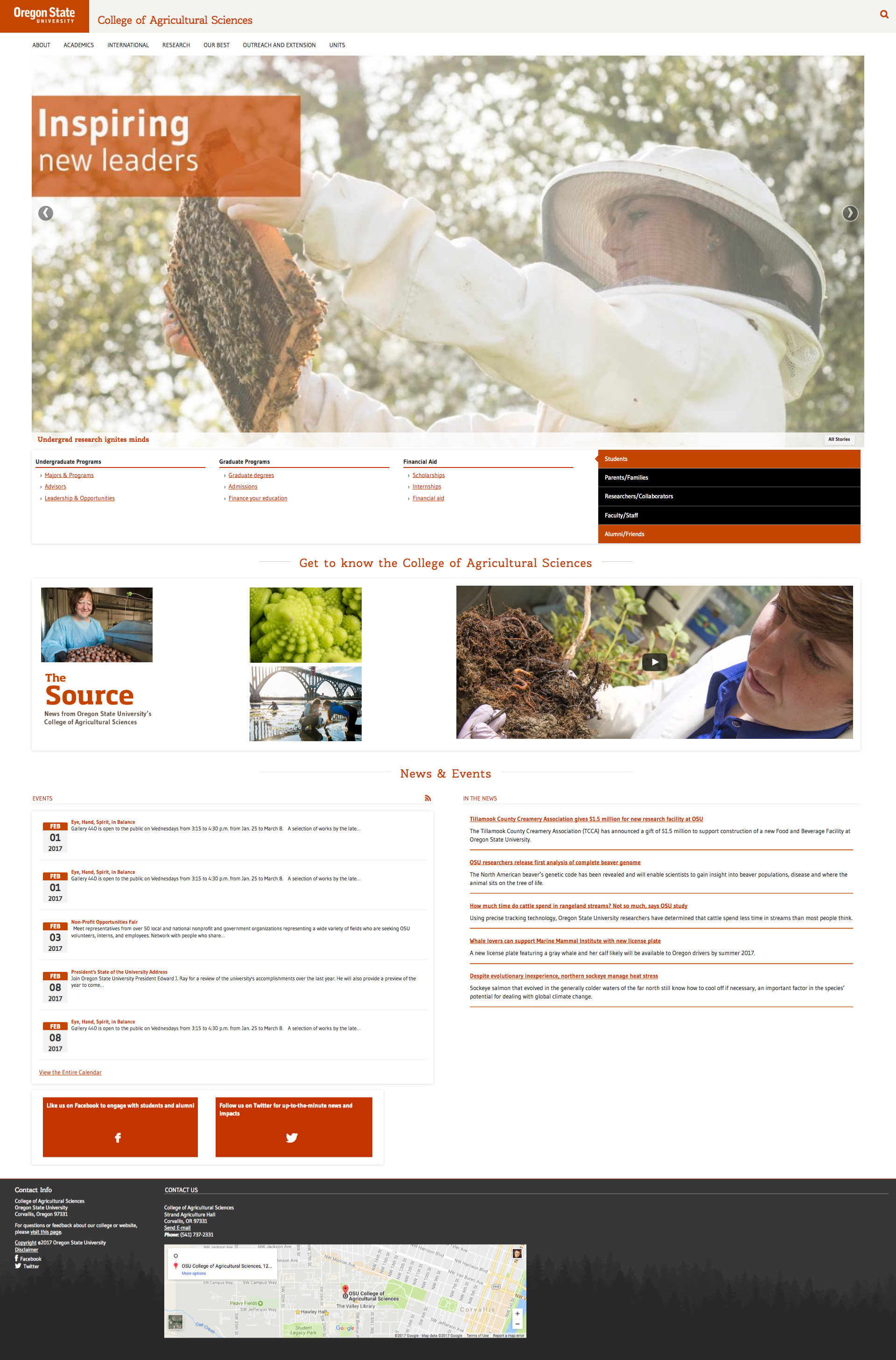 Oregon State University College of Ag Sci Home Page - 2016