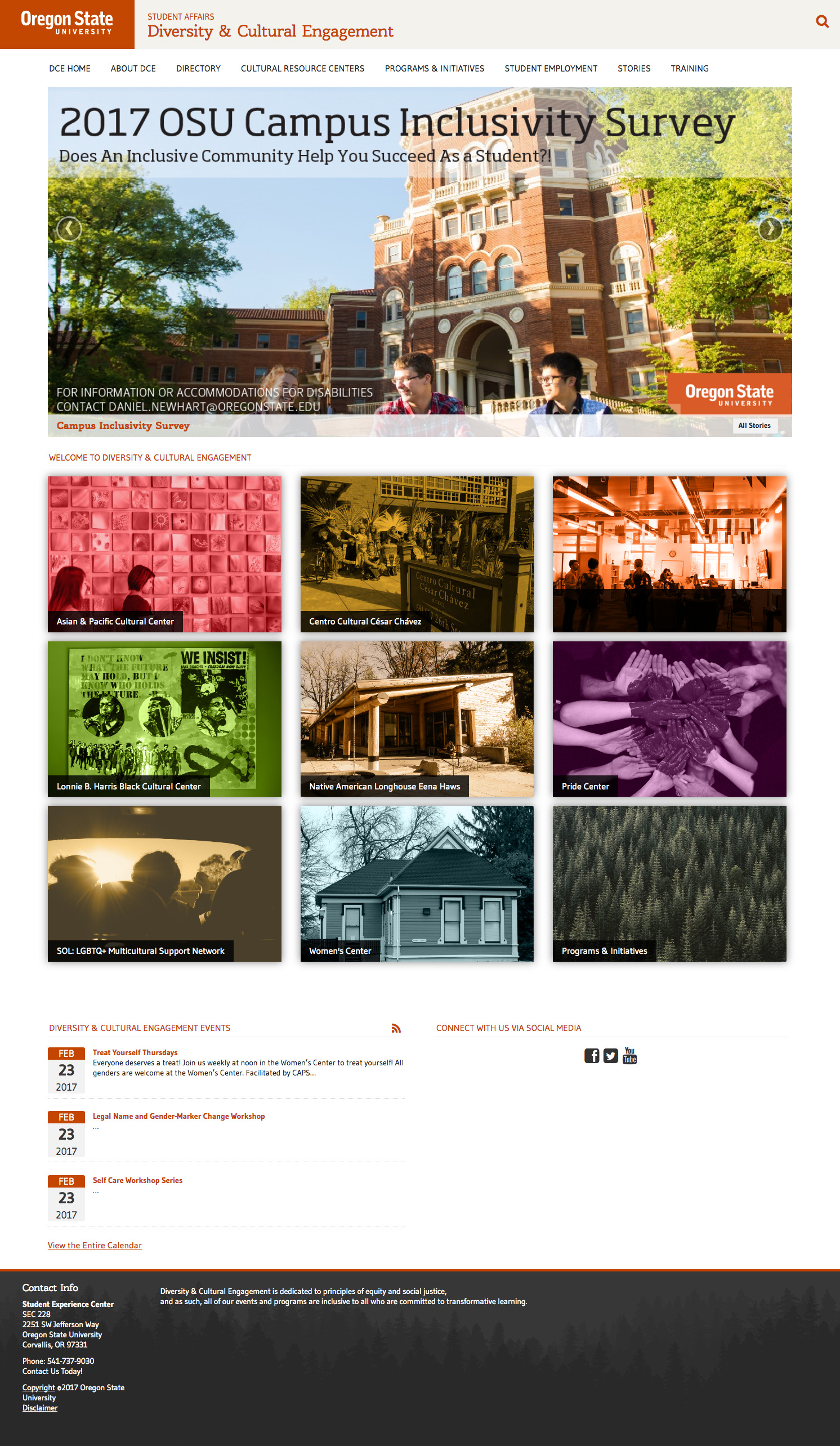 Oregon State University Diversity and Cultural Engagement Home Page - 2017