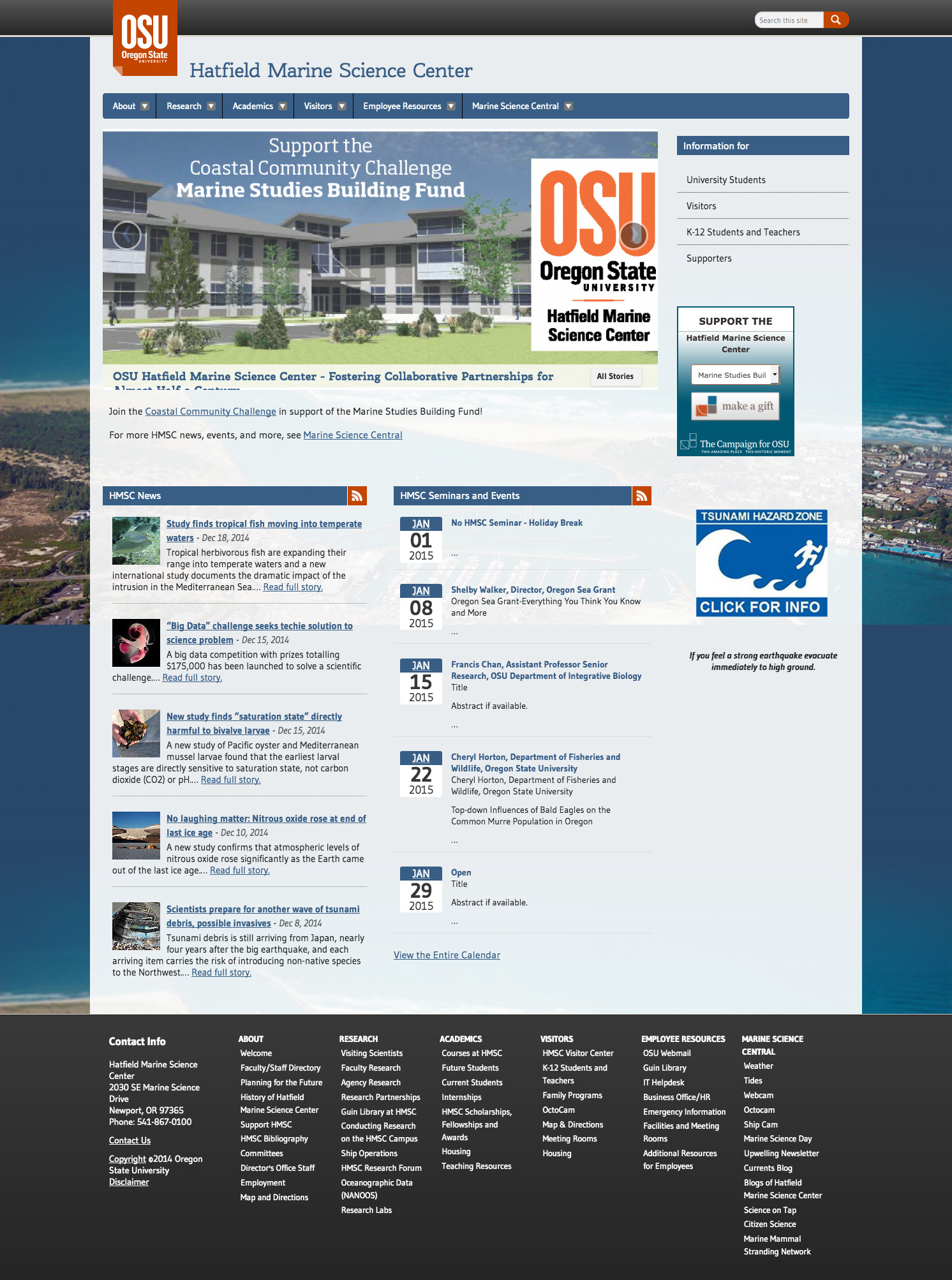Oregon State University Hatfield Marine Science Center Home Page - 2014