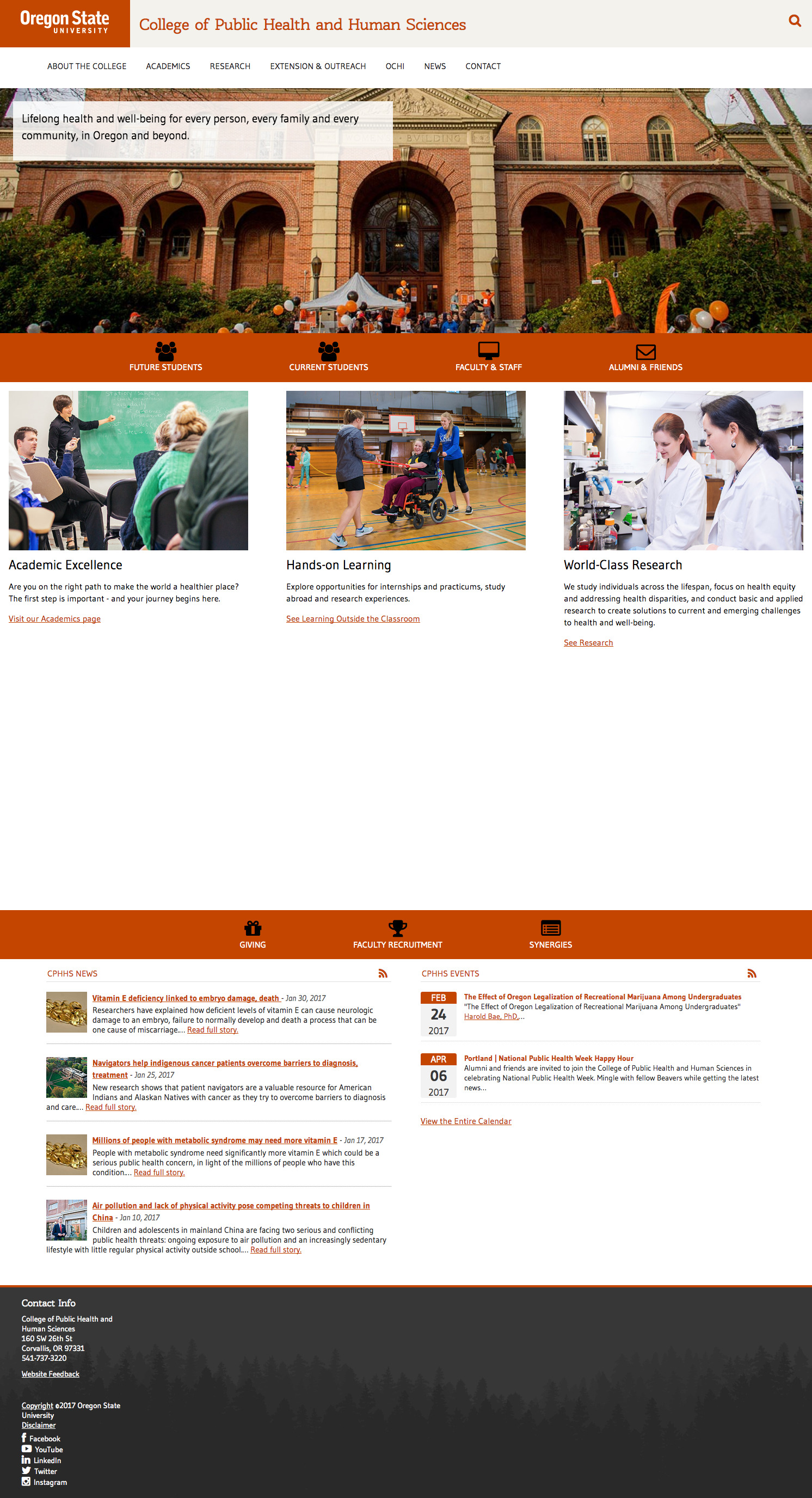 Oregon State University College of Public Health Home Page - 2017