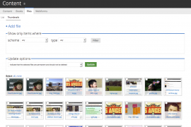 Media browser displays a thumbnail grid of all files in system.