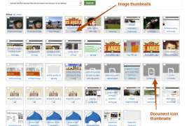 Showing the difference between Image and Document file extensions on thumbnails.