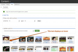 Hovering on a thumbnail that has Title text added to it will display a tool tip containing the title text.