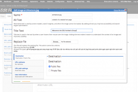 Edit screen with Alt Tag and Title fields and Replace file field appears in a modal dialog box.