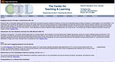 Oregon State University Center for Teaching and Learning Home Page - 2009