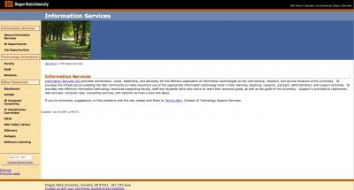 Oregon State University Information Services Home Page - 2004