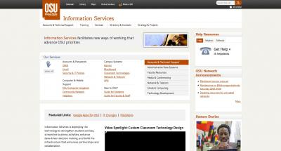 Oregon State University Information Services Home Page - 2013