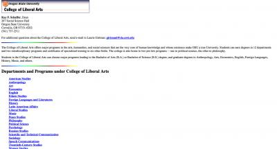 College of Liberal Arts Home Page - 1996