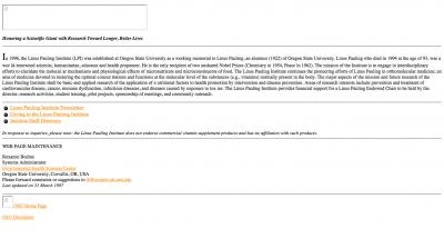 Oregon State University Linus Pauling Institute Home Page - 1997