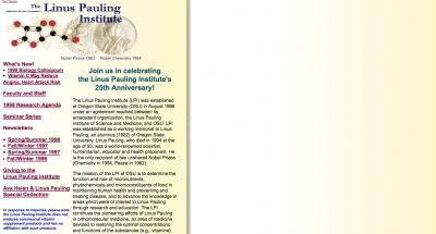 Oregon State University Linus Pauling Institute Home Page - 1998