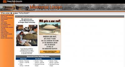 Oregon State University Memorial Union Home Page - 2004