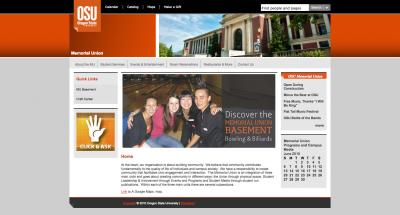 Oregon State University Memorial Union Home Page - 2010