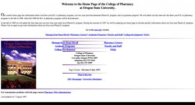 Oregon State University College of Pharmacy Home Page - 1997
