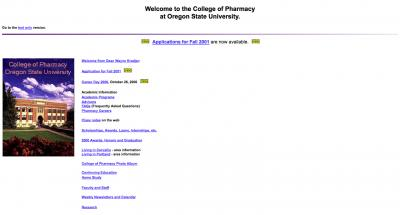 Oregon State University College of Pharmacy Home Page - 2000