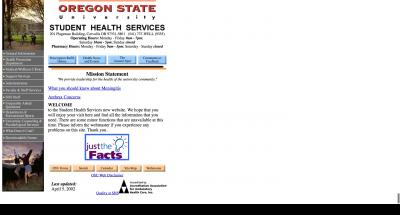 Oregon State University Student Health Services Home Page - 2002
